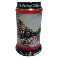 Budweiser Ceramic Christmas Beer Stein 1992