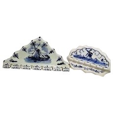Pair of Blue and White Delft Ceramic Spoon Holders with Windmill Designs