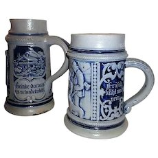 Pair of German Blue and Grey Beer Steins