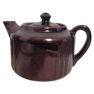 Pair of Heavy Brown Pottery Teapots