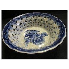 Vintage Blue & White  Ceramic Pierced Oriental Bowl