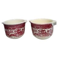 Pair of Pink Willow Custard Cups with Handles