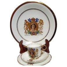 Four Piece Commemorative Coronation of Queen Elizabeth 1953 Set Plates Cup and Saucer