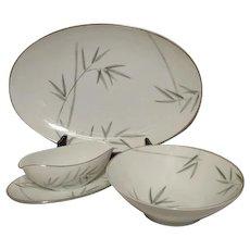 "Noritake Platinum Trim Bambina Design 16"" Platter, Gravy Boat and Vegetable Bowl Set"