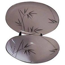 "Noritake Platinum Trim Bambina Design 12"" Platter and Vegetable Bowl"