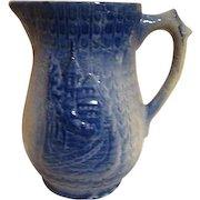 Antique Blue Salt Glaze Pitcher Late 1800's European