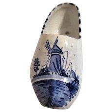 Flight Tracker Delft Creamer Pitcher Holland Windmill & Ships Blue On White Vintage Art Pottery