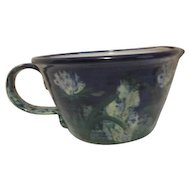 Large Ceramic Bowl with Handle and Spout Blue with Flowers Made in Portugal