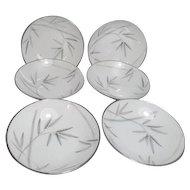 Noritake Platinum Trim Bambina Design 6 Dessert Bowls