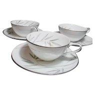 Noritake Platinum Trim Bambina Design 3 Cups and Saucers