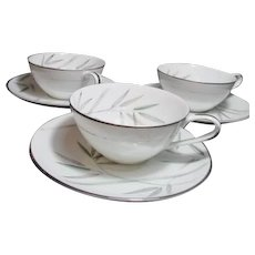 Noritake Platinum Trim Bambina Design 3 Cups and Saucers