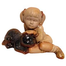Pottery Sculpted Girl with Cat Partial Glaze Style