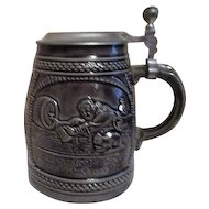 Grey Pottery Beer Stein with Metal Lid