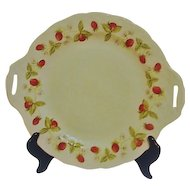 B & C Company Limoges France Double Handled Dessert Server with Strawberries