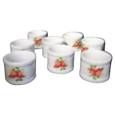 Set of 8 Porcelain Napkin Rings with Strawberry Decoration