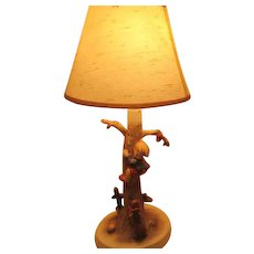 Signed Hummel Lamp of Boy Out of Danger with Shade