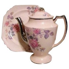 Rose Marie Pattern Tea Pot and Dinner/Cookie Plate by Limoges Company of Sebring Ohio USA Platinum Trim