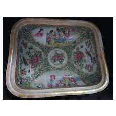 Antique Chinese Rose Famila Hand Painted Bowl