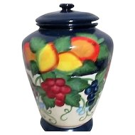 Hand Painted Lidded Biscotti Jar with Bold Colored Fruit Motif Made for Nonni's