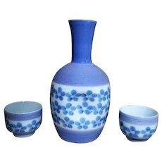 Sake Set Lavender Blue Signed Two Cups