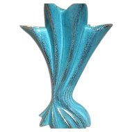 Aqua Blue and Gold Pleated Design Vase