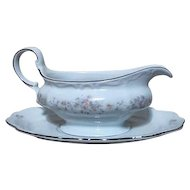 Bavarian Gravy Boat and Underplate from Johann Haviland Platinum Trim Floral Splendor