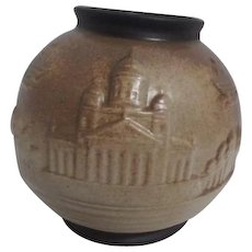 Helsinki Pot with Bas Relief of City Buildings. Brown and Cream