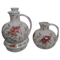 Pair of Nasco Springtime Pattern Tea/Coffee/Water Pot One Lid and Warmer