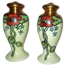 Hand Painted Gold Top Salt and Pepper Shaker Set