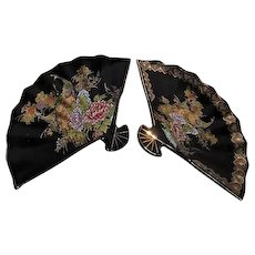 Pair of Japanese Fan Shaped Plates with Peacocks and Gold Trim