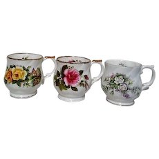 Set of Four English Fine Bone China Floral Mugs