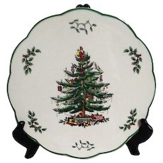 Spode Christmas Tree Appetizer Plate with Knife Old Inventory New in Box