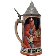 DGBM Lidded Beer Stein with Monks and Friends Scene Made in Western Germany