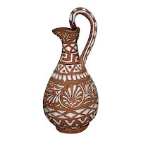 Signed Handmade Pottery Pitcher Vase from Greece