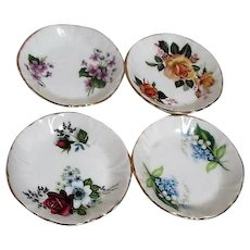 Set of 4 Spode of England Princess House Division Floral Butter Pat Individual Saucers