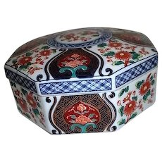 Japanese Octagonal Ceramic Lidded Box with Chrysanthemums