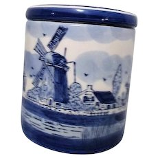 Hand Painted Delft Blue Humidor Blue and White Windmills Holland