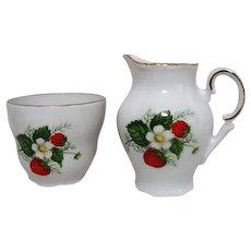 Schumann Arzberg Bavarian Wild Strawberry Pattern Cream and Sugar