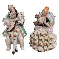 Victorian Style Seated Couple Figurines Musician and Lady
