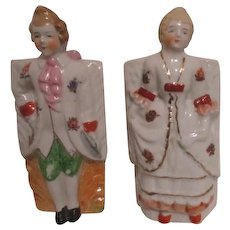 Pair of Wall Pocket with Colonial Dressed Couple Made in Japan