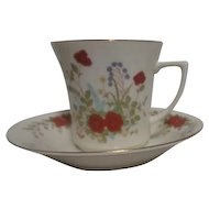 Cup and Saucer Cream with Autumn Flowers Gold Trim