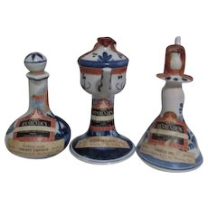 Set of Three Rynbende's Small Empty Liquor Containers Handpainted Blue and White Delft Seals Attached