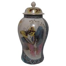 Tall Lidded Ginger Jar with Hand Painted Multi-Colored Butterflies
