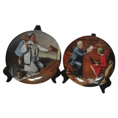Pair of Norman Rockwell Plates The Professor and The Painter