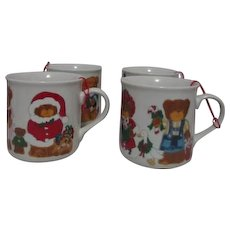 Set of 4 Teddy Bear Christmas Mugs Lucy Rigg Design