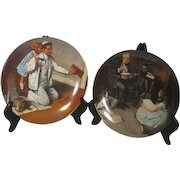 Set of 2 Norman Rockwell Plates The Storyteller and The Painter