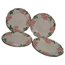 Set of 4 Franciscan Desert Rose Dinner Plates