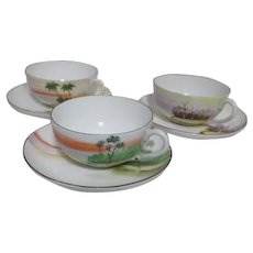 Set of 3 Cups and Saucers with Asian Landscapes Hand Painted From Japan