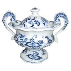 Blue Danube Blue and White Footed Covered Sugar Bowl from Japan