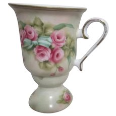 Footed Porcelain Mug from Porcelain Treasures Hand Painted by Betty Platner Roses